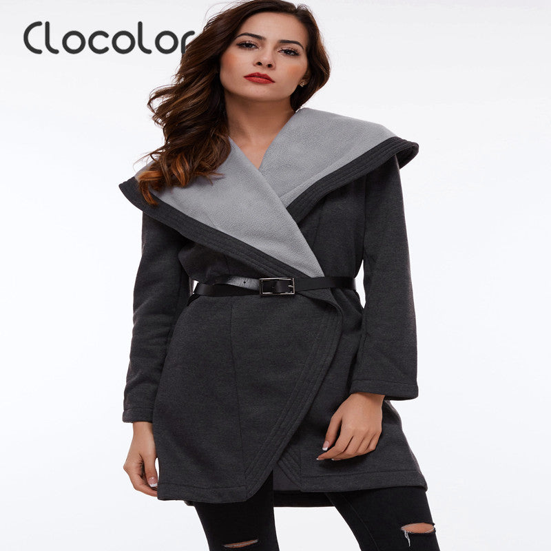 Clocolor Full Sleeve Turn Down Collar Black Women Jacket Casual Autumn Winter Jacket with Sashes Autumn Women Jacket Outwear - Jessikas Tops