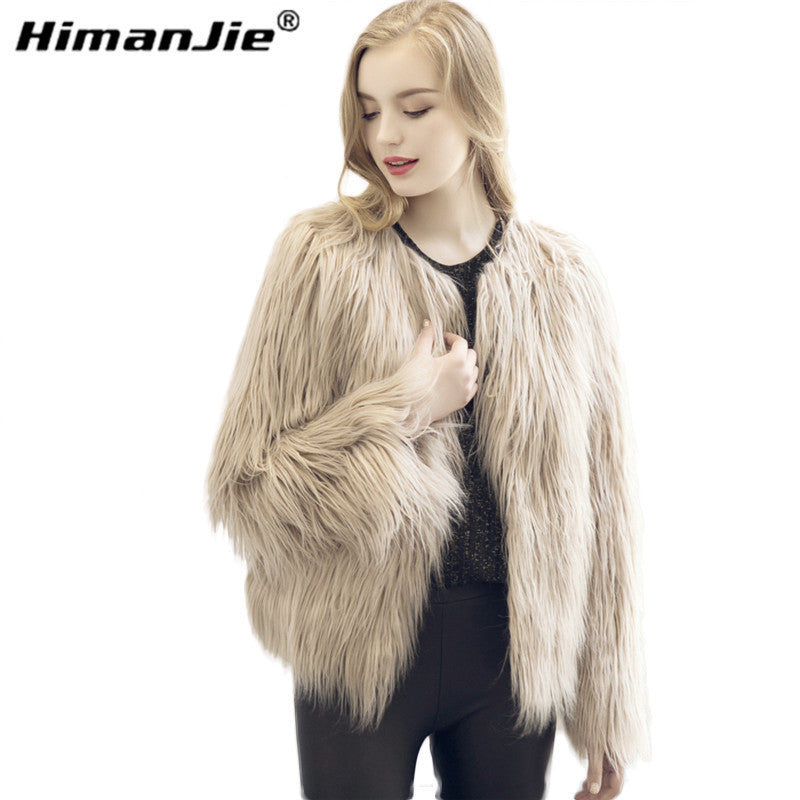 Chic soft faux fur coat women Fluffy warm long sleeve female outerwear black elegant autumn winter coat jacket hairy overcoat - Jessikas Tops