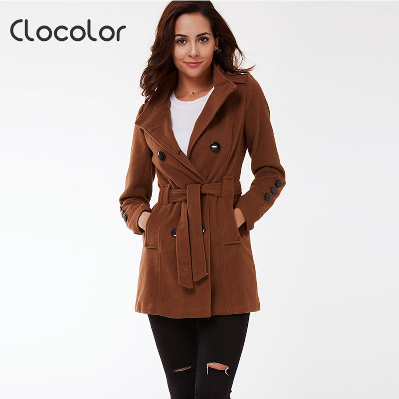 Clocolor Full Sleeve Autumn Winter Women Coat Jacket Female Turn Down Collar with Sashes Windbreaker Coat Slim Outerwear - Jessikas Tops