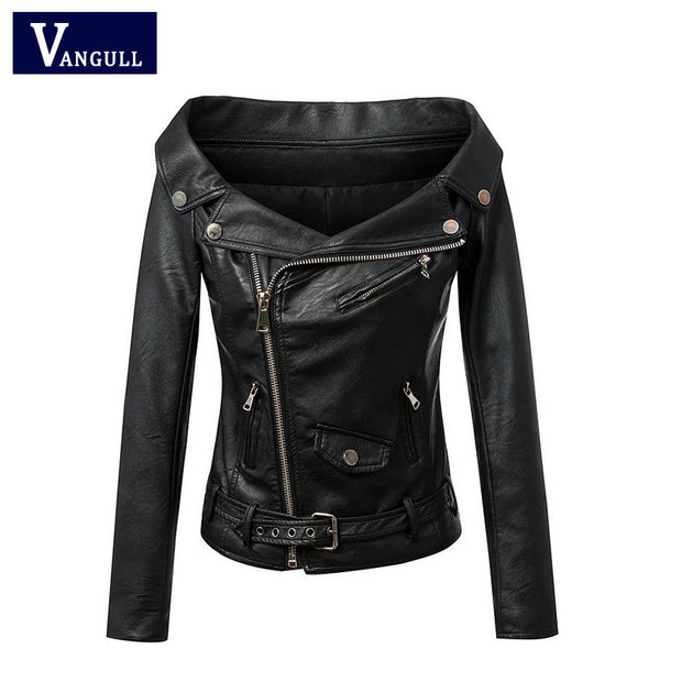 Woman Off shoulder faux leather jacket women motorcycle jacket 2016 Spring autumn outerwear coats Short zipper basic jackets - Jessikas Tops