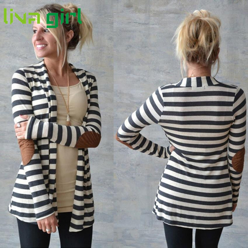 CharmDemon 2016 Women Casual Striped Cardigans Patchwork Outwear at30 - Jessikas Tops