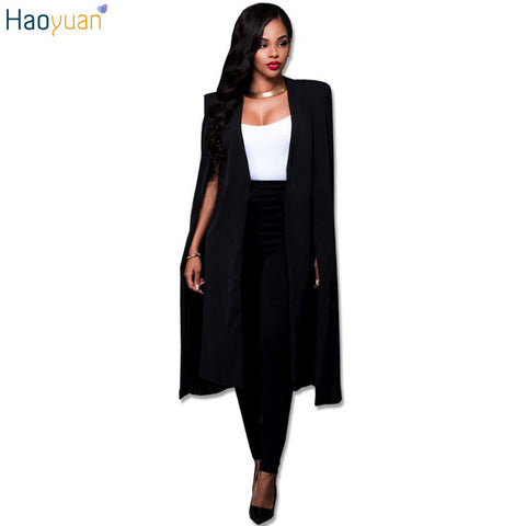 HAOYUAN Fashion Casual Trenchcoat Women Trench Coat Female Autumn Black White Cardigan Cloak Trench Coats Outwears Poncho Coat - Jessikas Tops