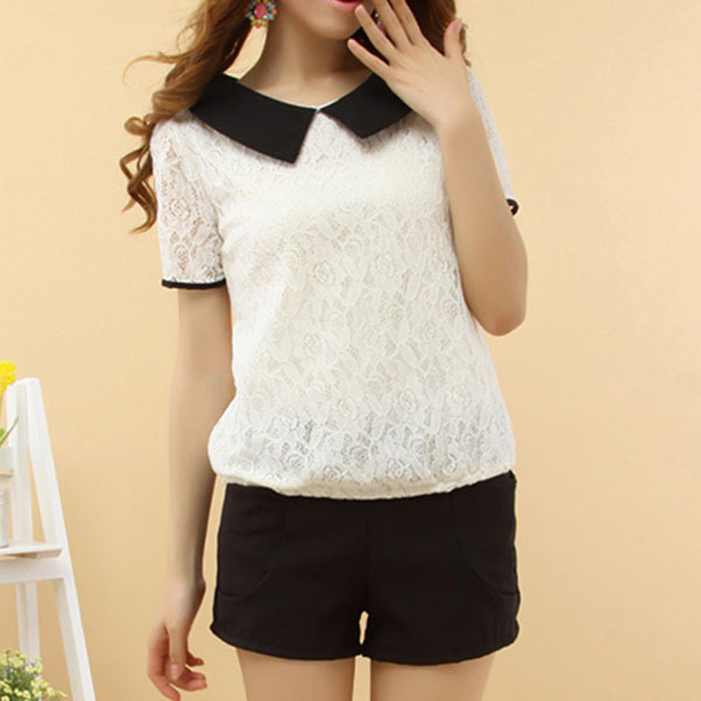 Casual Korea Style Women Slim Lace Lapel Short Sleeve Blouse Tops Loose Sailor Collar  Summer - Jessikas Tops