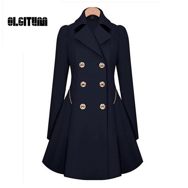 Winter Trench Coat 2017 Hot Sale Womens Coat Classic waist was thin