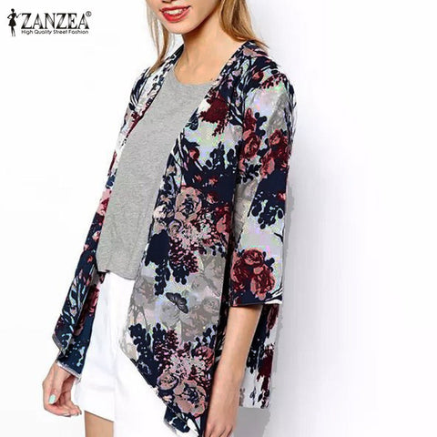 ZANZEA 2017 Summer Style Women Kimono Boho Cardigan Fashion Ladies Shirt Floral Print Blouse camisas femininas Loose Shawl S-6XL