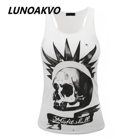 Harajuku Women Misfit Skull Tank Top Sleeveless T-shirt 2016 New Free Shipping - Jessikas Tops