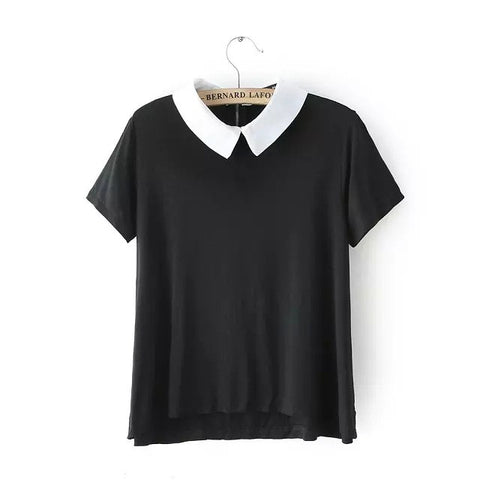 New Fashion 2015 Summer Womens Elegant Peter Pan Collar Short Sleeve Black Shirts Casual Ladies Brand T-Shirt Tops Br071 - Jessikas Tops