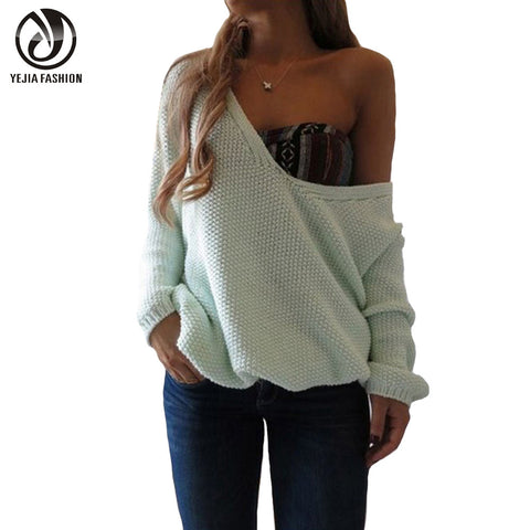 YeJia Long Sleeve Knitted Sweater Women Autumn Winter V-Neck Loose Pullovers 2017 Fashion Poncho Feminino Jumper Solid Outwear - Jessikas Tops