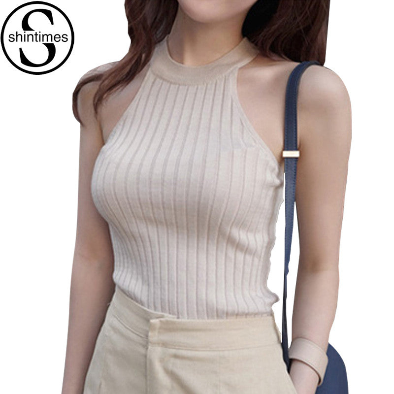 Crop Top Women 2017 Summer Tops Off Shoulder Tank Top Femme Knitted Cotton Halter Cropped Debardeur Blouses Vest  Woman Clothes - Jessikas Tops