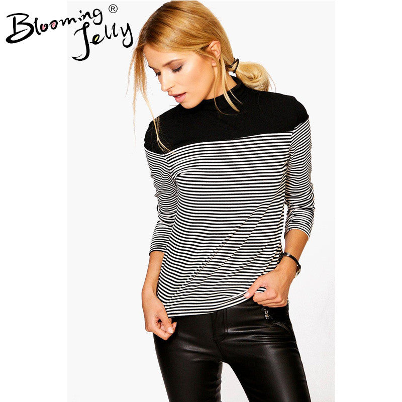 Blooming Jelly Black And White Striped Shirt Patchwork High Neck Blouse Knitted Long Sleeve Top Women Tops And Blouses 2016 New - Jessikas Tops