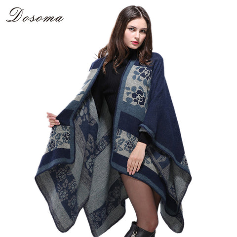 imitated cashmere cloaks 2017 european style autumn/winter warm knitted shawl geometric printed sweater poncho national swing - Jessikas Tops