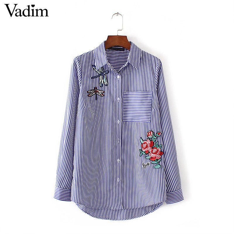 Women floral dragonfly embroidery full cotton striped blouse long sleeve long shirt European ladies casual tops blusas LT1275 - Jessikas Tops