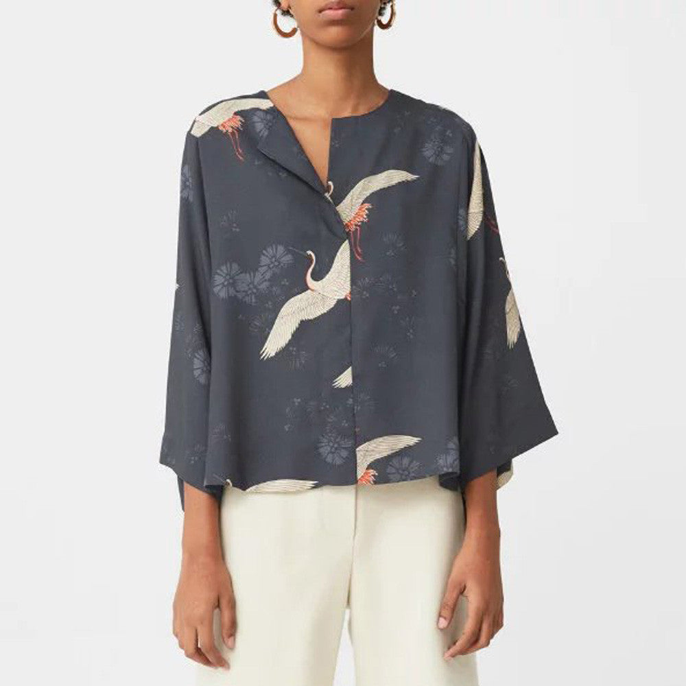 Vintage Cranes Animal Floral Pattern Blouse Lapel Pullover Loose Kimono Shirt Trendy Women Three Quarter Sleeve Tops SY17-01-04 - Jessikas Tops