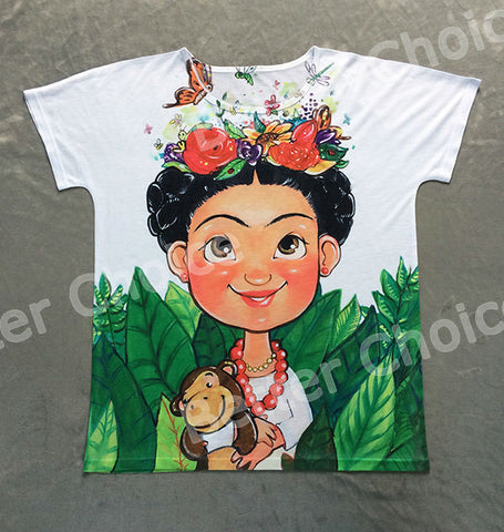 Track Ship + Vintage Retro T-shirt Top Tee Mexico Cartoon Painting Cute Frida Kahlo Butterfly Flower Monkey Toy 0772 - Jessikas Tops