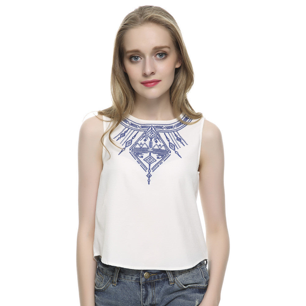 Women's Embroidery white crop tops casual blouses blusa feminina O neck sleeveless shirt slim top low price plus size WT07 - Jessikas Tops