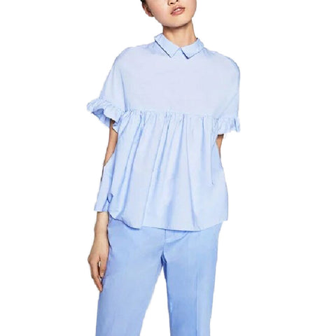 women elegant butterfly sleeve loose pleated cute shirts pleated blue back bow short sleeve blouse summer casual tops DT729