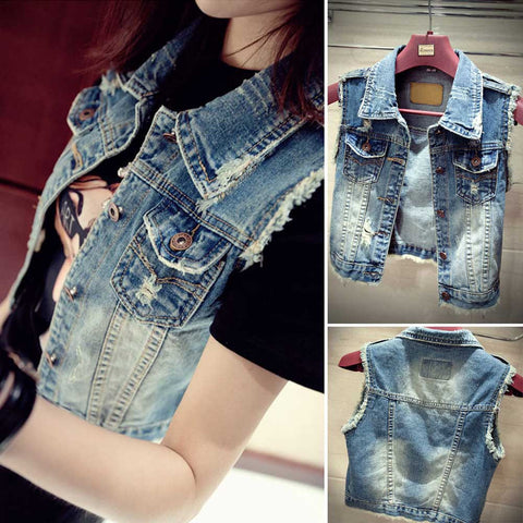 Fashion Women Summer New Burr Vintage Single Breasted Denim Short Jackets Slim Sleeveless Worn-out Jeans Vests S-XL - Jessikas Tops