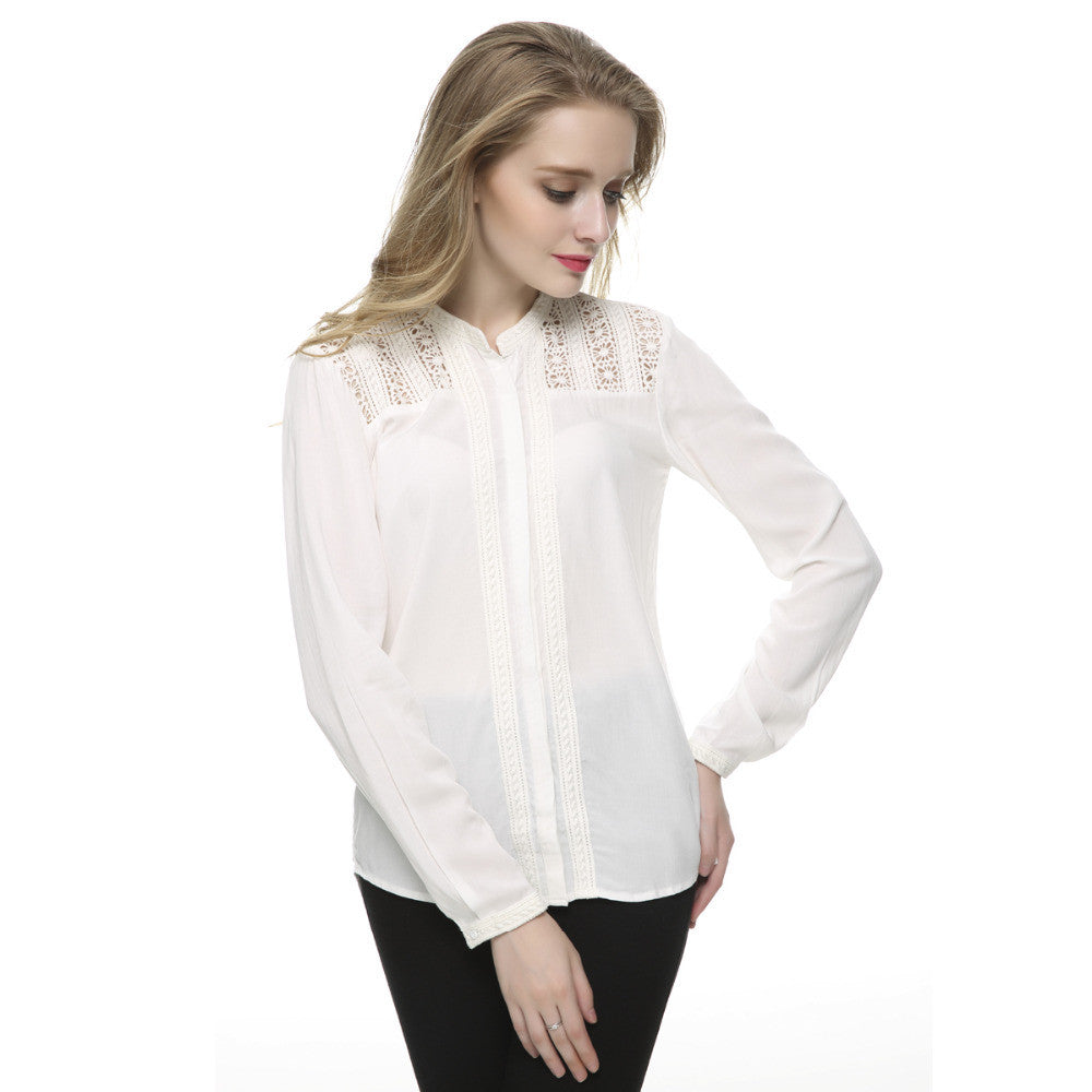 Women elegant lace floral white blouses brief stand collar office shrit long sleeve casual blusa feminina work wear ST2440 - Jessikas Tops