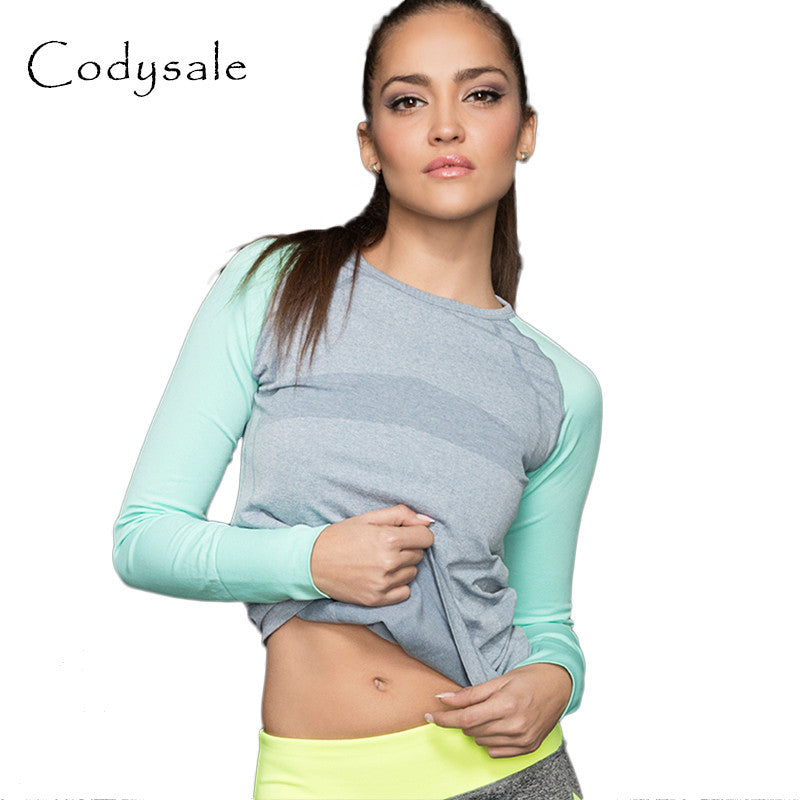 Codysale 2017 Women Casual Sweatshirt Top Round Collar Patchwork Long-Sleeve For Leisure Professional Aerobics Quick Dry Workout - Jessikas Tops