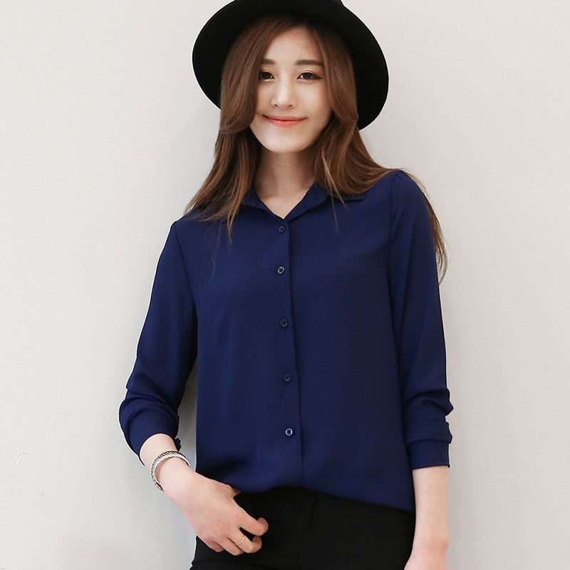 Chiffon Blouse 2016 Spring Women Summer Fashion Elegant OL Casual Style Shirts Long Sleeve Shirt Female Office Plus Size Tops - Jessikas Tops