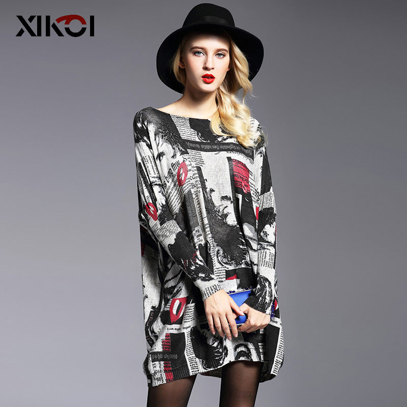 2017 Oversized Sweater Women Jumper Clothes Fashion Batwing Sleeve