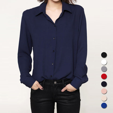 Fashion 2017 Women casual tops Long Sleeve Chiffon Shirt Blouse Simple spring autumn women's plus size blusas chemise femme