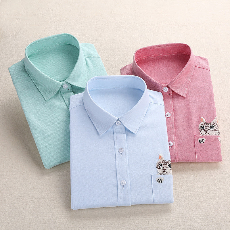 Dioufond Animal Embroidery Shirts Cats Women Solid Blouses Work Ladies Office Tops Female Blusas Plus Size Embroidery Shirt - Jessikas Tops