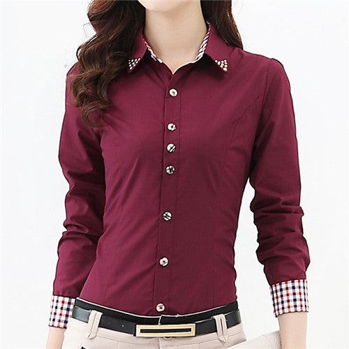 High Quality Women Blouses Casual Plaid Patchwork Blouse Shirt Women Tops Blusas Plus Size S-6XL Long Sleeve Blouse Shirt - Jessikas Tops
