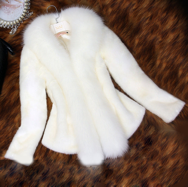 New Winter Women Faux Mink Fur Coat With Fox Fur Collar Long Sleeve Slim Short Hair Cape Coats White Thick Warm Jacket Big Size - Jessikas Tops