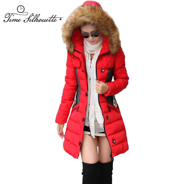 Brand New Winter Jacket Women Parka Coat Abrigos y Chaquetas Mujer Invierno 2015 Big Fur Collar Hood Clothing Anorak Jacket H04 - Jessikas Tops