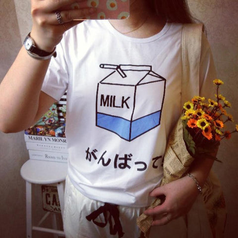 Fashion Summer Lady Girls Basic Tee T Shirts Tops Women Japanese Harajuku Cute Soft Milk Box Print Loose Short Sleeve T-Shirts - Jessikas Tops