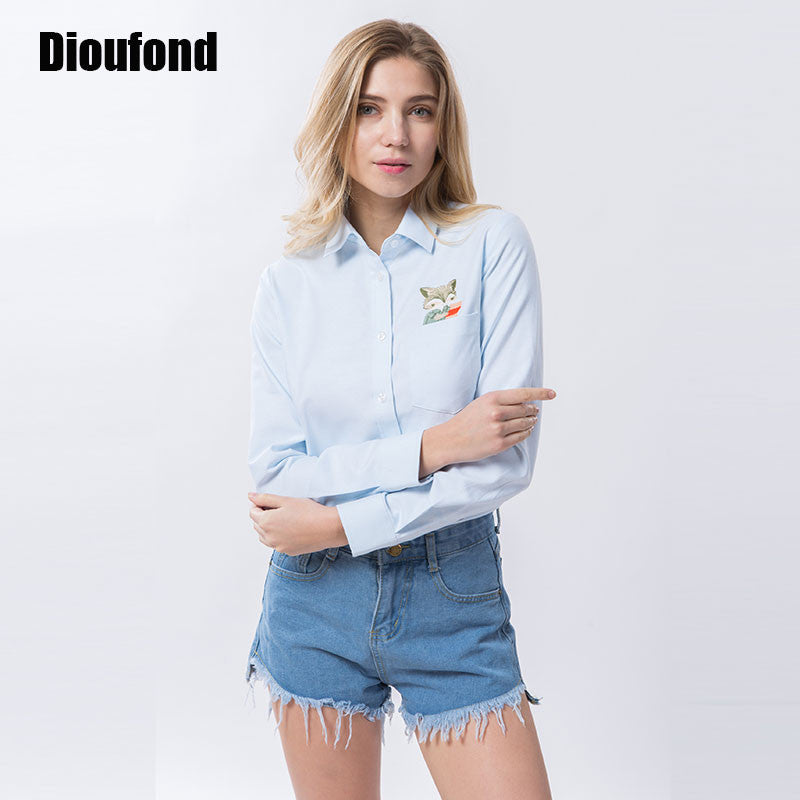 Dioufond Animal Embroidery Print Fox on Pocket Shirts Lady 2017 Spring New Fashion White Blouse Shirts Women Long Sleeve Tops - Jessikas Tops