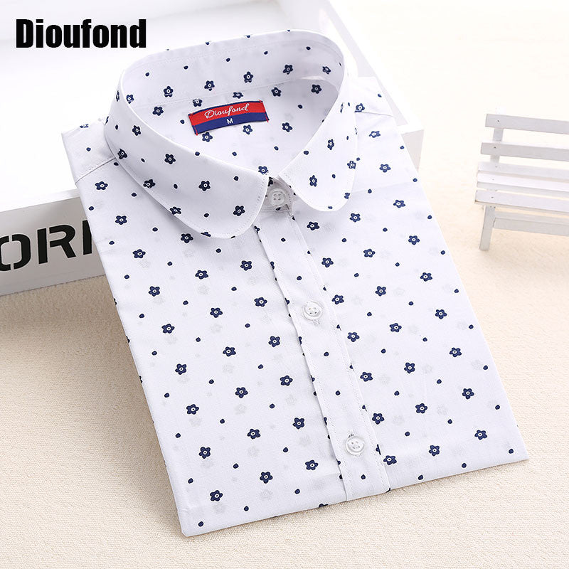 Dioufond Floral Women Blouses Polka Dot  Blouse Long Sleeve Shirt