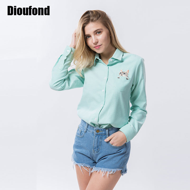 Dioufond Cat Embroidery Long Sleeve Women Blouses And Shirts White Blue Female Ladies Casual Shirt Tops Plus Size Blusas Blouse - Jessikas Tops
