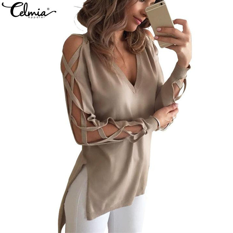 CELMIA 2017 Fashion Sexy Women Hollow Out Long Sleeve Shirts T-shirt Spring Autumn V neck Side Split Top Long Blusas Plus Size - Jessikas Tops