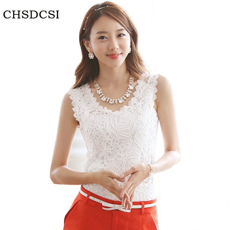 Blusas Femininas 2017 Summer Women Blouse Lace Vintage Sleeveless White Renda Crochet Casual Shirts Tops Plus Size S M L XL XXL - Jessikas Tops