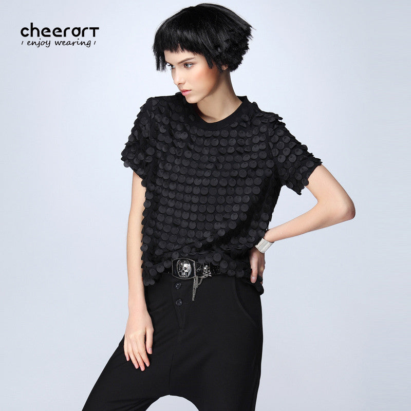 [cheerart] Original Women Summer Black Burnt-Out Short Sleeve Chiffon Blouse Plus Size Loose Novelty Top Fashion 2017 Clothing - Jessikas Tops