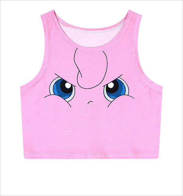 Women's Squirtle Jigglypuff Pikachu AA style Bustier Crop Top Sexy Camisole 3D Pokemon cartoon Print cropped tank Top TS-079 - Jessikas Tops
