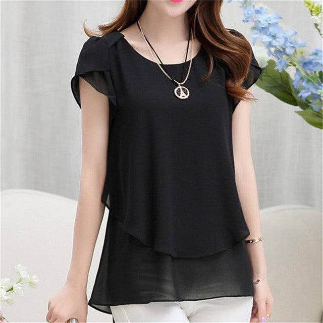 Soperwillton 2016 New Summer Women Blouse Loose Shirt O-Neck Chiffon Blouse Female Short Sleeve Blouse Plus Size 5XL Shirts D378 - Jessikas Tops