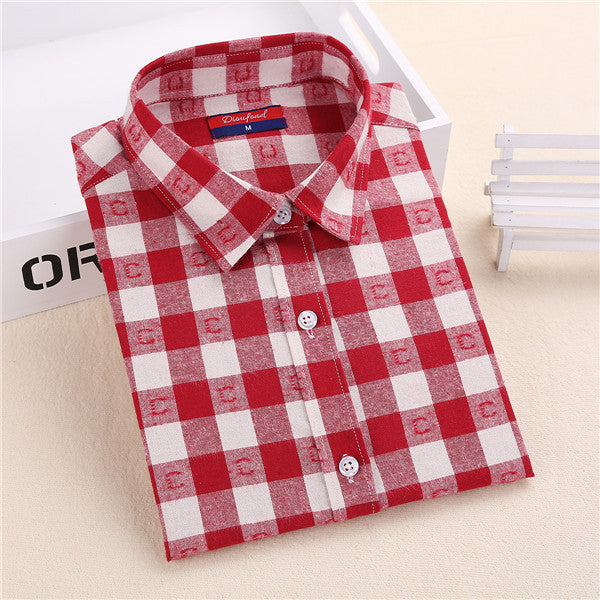 Dioufond Flannel Plaid Shirt Women Shirts Blouses Long Sleeve Plaid Blouse Causal Turn-down Collar Clothes Women Tops Fashion - Jessikas Tops