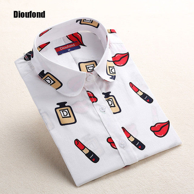 Dioufond White Navy Lips Print Women Blouses Long Sleeve Ladies Office Blouse Shirt  Casual Button Down Blusa 2017 Spring - Jessikas Tops