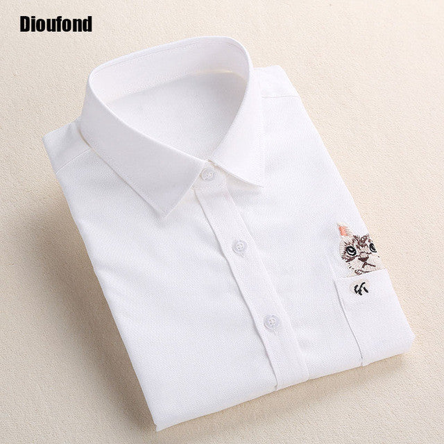 Dioufond Cat Embroidery Long Sleeve Women Blouses And Shirts White