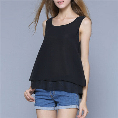 Summer Style Blouse Women Tops Two Layers Chiffon Female Vest Spaghetti Loose Shirts Casual Solid Blouse Plus Size Clothing S139 - Jessikas Tops