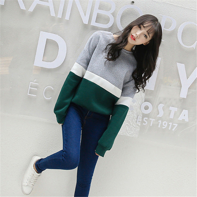 Autumn New Spell Color Stitching Harajuku Women Hoodies Pullover