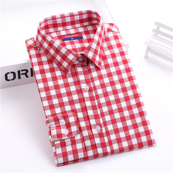 Brand Women's Plaid Blouse Cotton Women Long Sleeve Tops Ladies Red