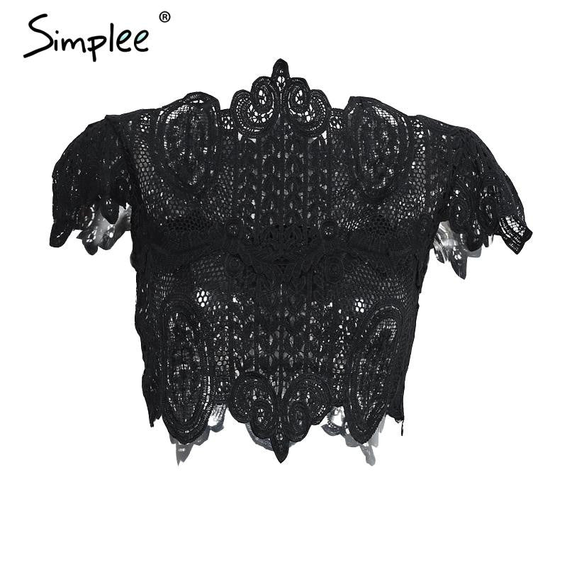 Simplee Apparel Summer style elegant black lace crochet crop top Girls short sleeve white blouse Women sexy hollow out tank tops - Jessikas Tops