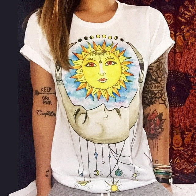 Casual White T Shirt Women Quality Summer Shirt Clothing Ladies Body Tops Tees Print Camisetas Mujer Blusas Femininas T-Shirt - Jessikas Tops