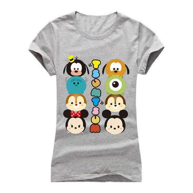 Fashion Summer T shirt Women Striped mouse T Shirts Short Sleeve Cartoon Tee Anchor Printed Tops Cotton Owl T-Shirts lady tops - Jessikas Tops