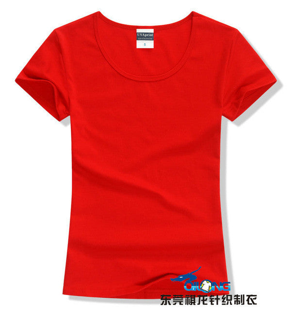 Brand New fashion women t-shirt brand tee tops Short Sleeve Cotton tops for women clothing solid O-neck t shirt ,Free shipping - Jessikas Tops