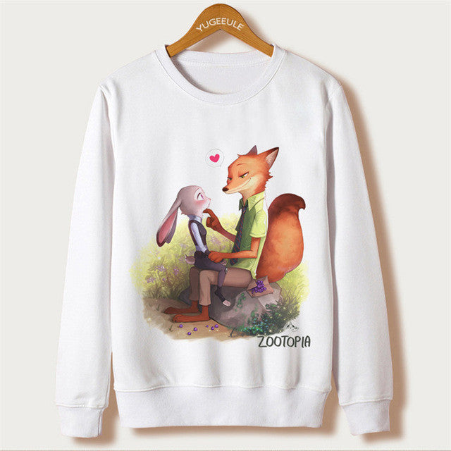 Cute Cartoon Zootopia Print Sudaderas Mujer 2016 Fashion Sweatshirt Women Hoodies Pullover Femme Long Sleeve White Sweatshirts - Jessikas Tops